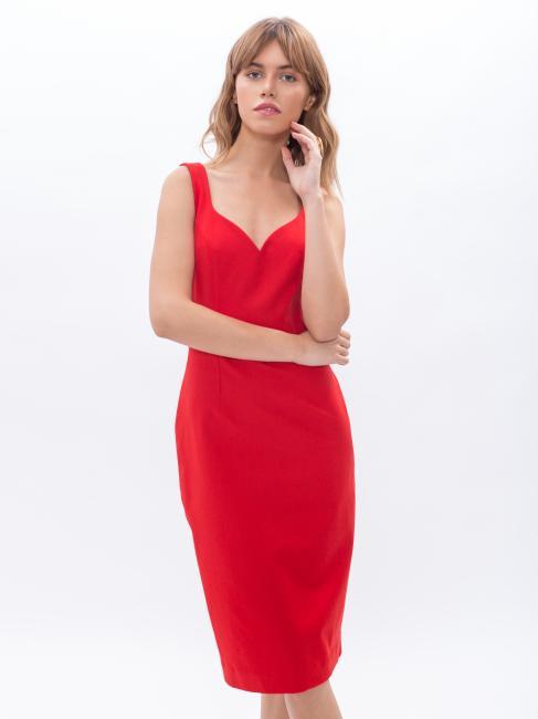 Платье футляр красное