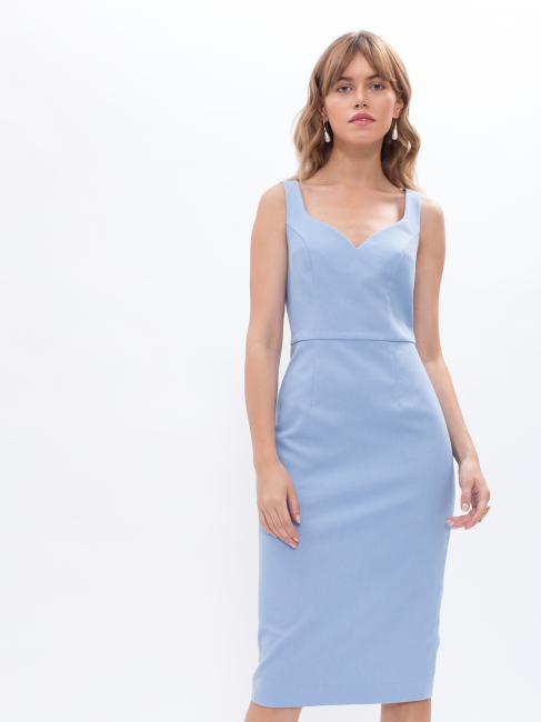 Платье-футляр голубое