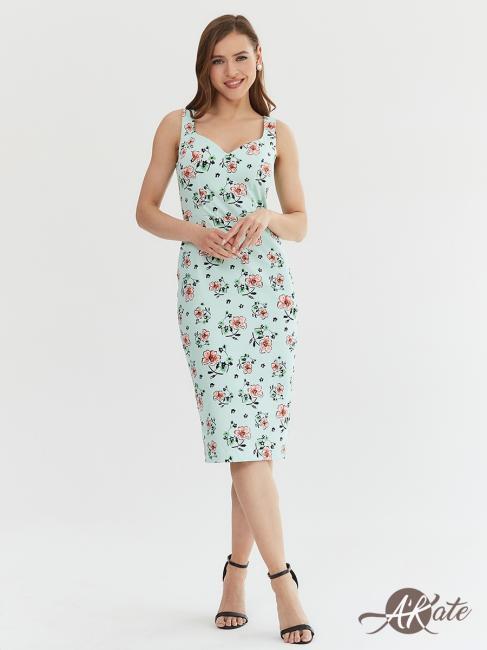 Платье-футляр мятное