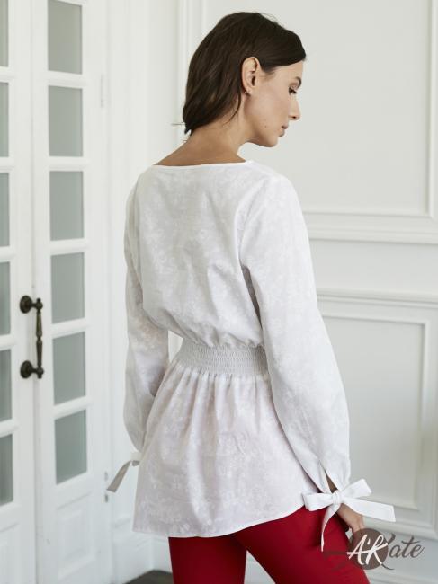 Блузка с баской белая Оптом