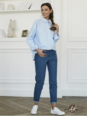 Блузка с карманом голубая Оптом
