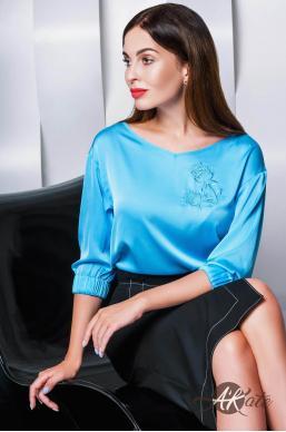 Блузка с вышивкой голубая Оптом