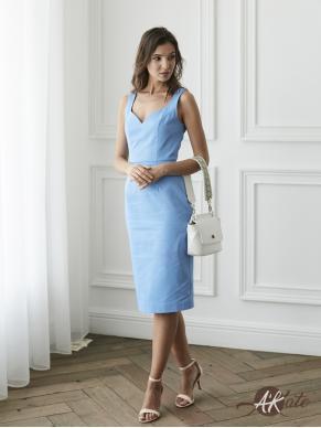 Платье футляр голубое Оптом