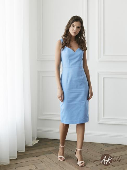 Платье футляр голубое