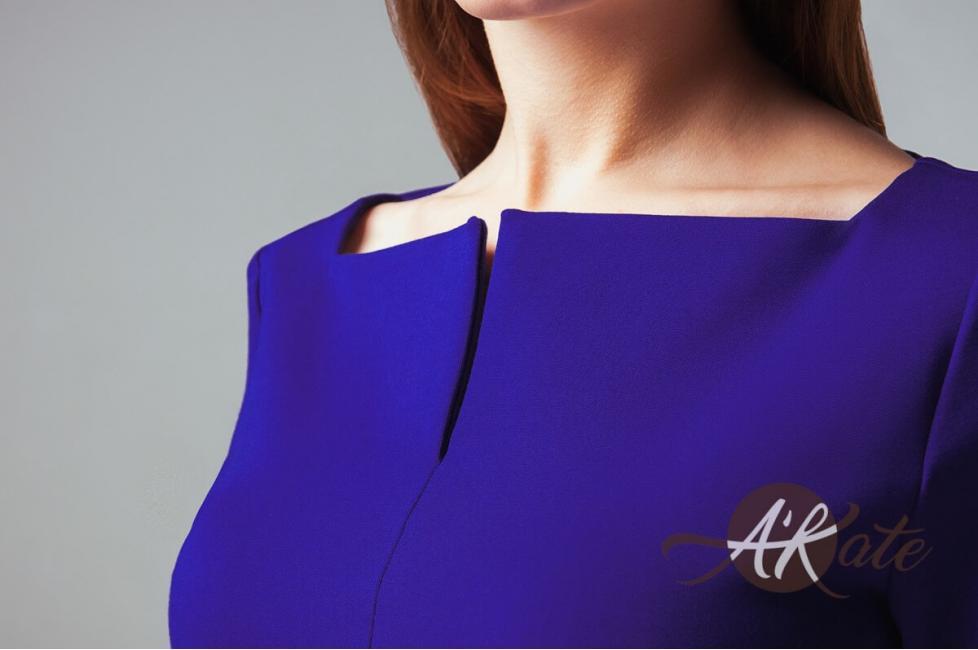 Платье футляр синее