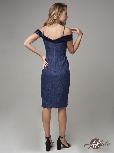 платье коктейльное синее