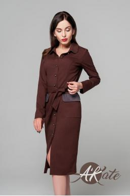 Платье на пуговицах бордовый Оптом