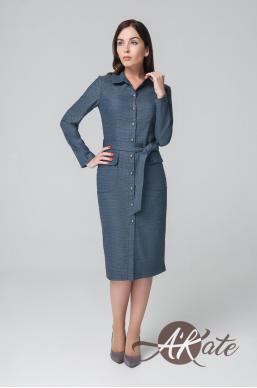 Платье на пуговицах синее Оптом