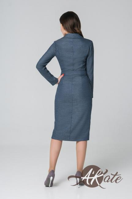 Платье на пуговицах синее