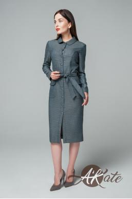 Платье на пуговицах темно-серый Оптом