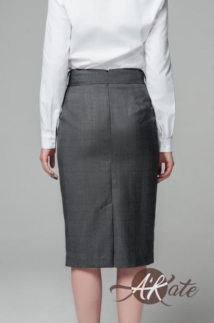 Юбка с широким поясом серый