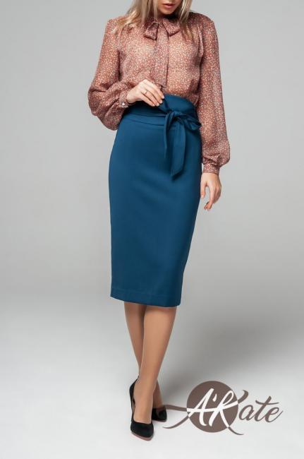 Юбка с широким поясом синяя