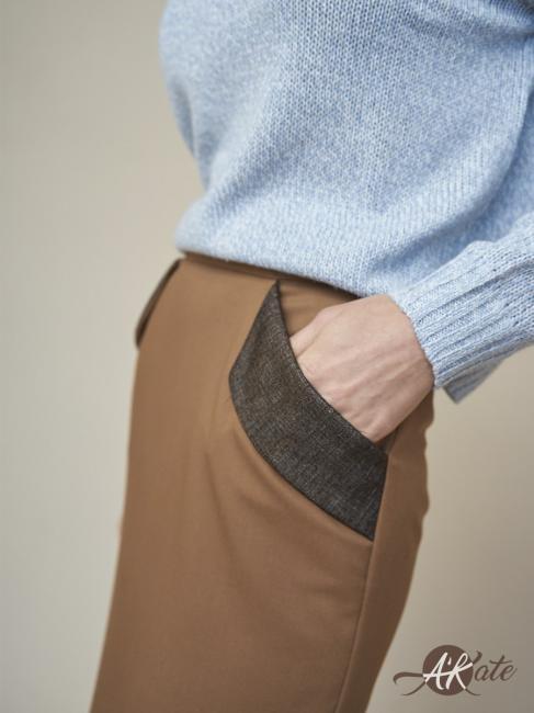 Юбка карандаш с карманами коричневая