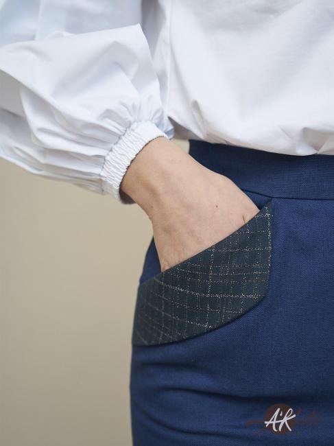 Юбка карандаш с карманами синяя
