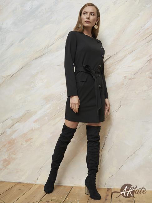 Платье на пуговицах спереди черное