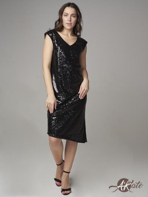 Платье вечернее с вырезом черное