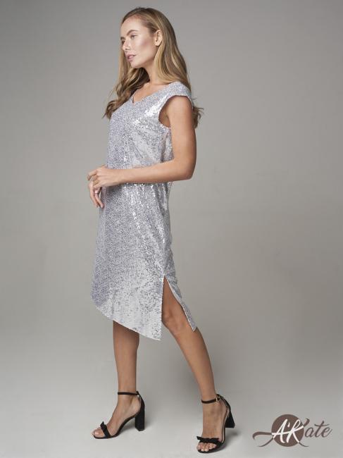 Платье вечернее из пайеток серое