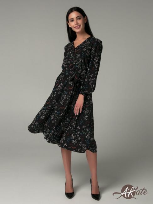 Платье расклешенное принт